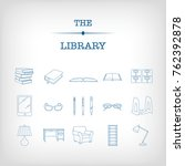 a set of 17 blue library icons... | Shutterstock .eps vector #762392878