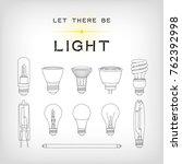 a set of 11 black light bulb... | Shutterstock .eps vector #762392998