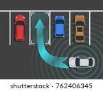 autonomous car parking top view.... | Shutterstock .eps vector #762406345