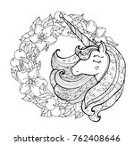 unicorn and apple flower wreath.... | Shutterstock .eps vector #762408646