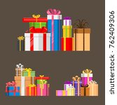 gift boxes pack composition... | Shutterstock .eps vector #762409306