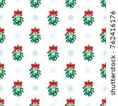 seamless simple mistletoe with... | Shutterstock .eps vector #762416176