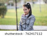 beautiful girl having fun in... | Shutterstock . vector #762417112