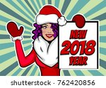 girl in mitten glove hold... | Shutterstock .eps vector #762420856