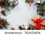 christmas background. xmas gift ... | Shutterstock . vector #762425656