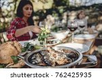 close up photo of served... | Shutterstock . vector #762425935