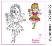 cute girl in a fairy costume... | Shutterstock .eps vector #762430402