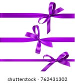 set of decorative purple bow... | Shutterstock .eps vector #762431302