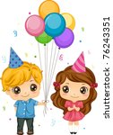 Illustration of a Boy Giving Balloons to a Girl - stock vector