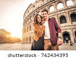 young couple at the colosseum ... | Shutterstock . vector #762434395