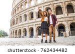 young couple at the colosseum ... | Shutterstock . vector #762434482