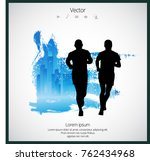 young jogger with abstract... | Shutterstock .eps vector #762434968