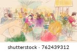 a view of people sitting in a...   Shutterstock . vector #762439312