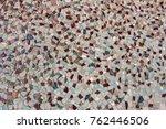 the stone floor is decorated... | Shutterstock . vector #762446506