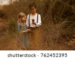 sweet siblings  brother and... | Shutterstock . vector #762452395