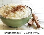 rice pudding with cinnamon. ... | Shutterstock . vector #762454942