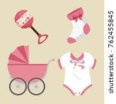 cute baby shower elements   Shutterstock .eps vector #762455845