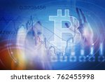 bitcoin sign digital currency ... | Shutterstock . vector #762455998
