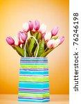 tulips in the bag against... | Shutterstock . vector #76246198