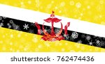 brunei winter snowflake flag | Shutterstock . vector #762474436