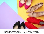various female stylish shoes on ... | Shutterstock . vector #762477982