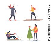 winter illustration peoples ... | Shutterstock .eps vector #762479572