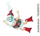 cartoon santa claus snorkeling...   Shutterstock .eps vector #762483472
