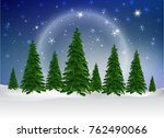 branch of christmas tree with... | Shutterstock .eps vector #762490066