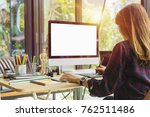 young creative designer working ... | Shutterstock . vector #762511486