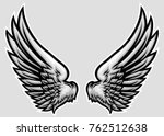 hand drawn wing vector... | Shutterstock .eps vector #762512638