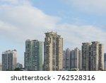 downtown modern building with... | Shutterstock . vector #762528316