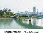 bridge with modern building and ... | Shutterstock . vector #762528862