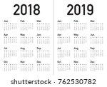 year 2018 2019 calendar vector... | Shutterstock .eps vector #762530782