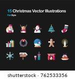 15 christmas flat vector... | Shutterstock .eps vector #762533356