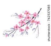 branch of cherry blossom  ... | Shutterstock .eps vector #762537085