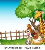 background scene with farm... | Shutterstock .eps vector #762546856
