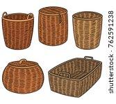 vector set of wicker baskets | Shutterstock .eps vector #762591238
