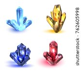 set of crystals. multicolored... | Shutterstock .eps vector #762605998