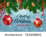 merry christmas lettering with... | Shutterstock .eps vector #762608842