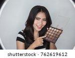 beauty blogger. makeup tutorial.... | Shutterstock . vector #762619612