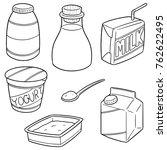 vector set of milk product | Shutterstock .eps vector #762622495