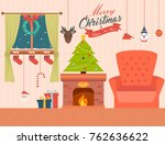 christmas home inerior | Shutterstock .eps vector #762636622