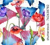 wildflower poppy flower pattern ...   Shutterstock . vector #762638782