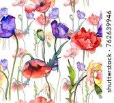 wildflower poppy flower pattern ... | Shutterstock . vector #762639946