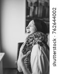 black and white portrait. young ... | Shutterstock . vector #762644002