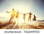 big group of people having fun... | Shutterstock . vector #762649552