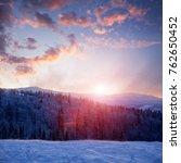 mountain sunset  winter... | Shutterstock . vector #762650452