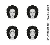 icons set of woman face with... | Shutterstock . vector #762681595