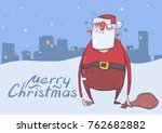 christmas card of funny drunk... | Shutterstock .eps vector #762682882