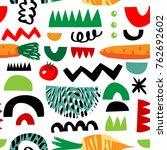 vegetarian seamless pattern... | Shutterstock .eps vector #762692602
